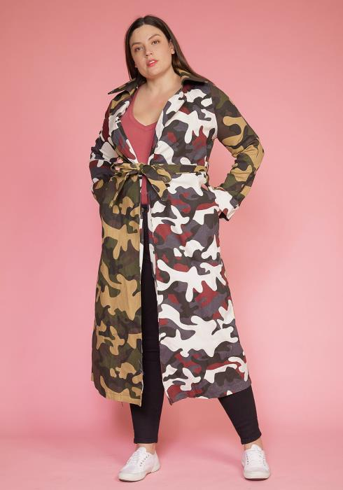 Asoph Plus Size Camo Print Color Contrast Coat