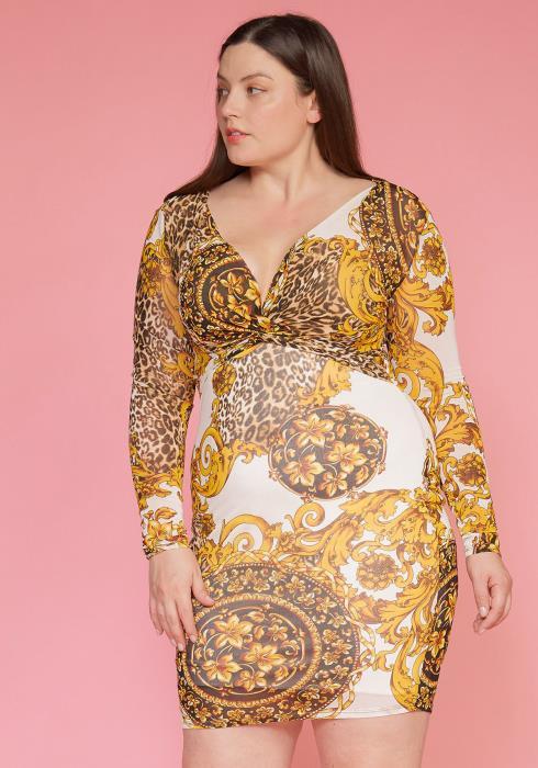 Asoph Plus Size Printed Mesh Bodycon Dress