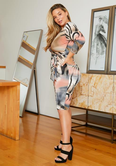 Asoph Plus Size Animal Print Midi Dress