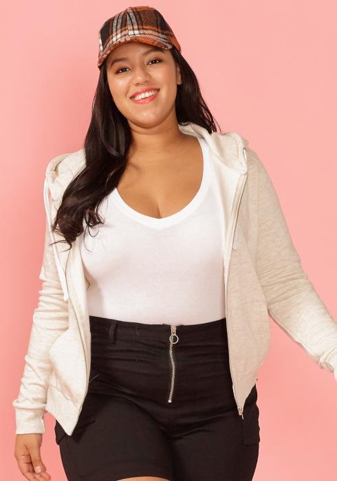 Asoph Plus Size Basic Zip Up Hooded Jacket