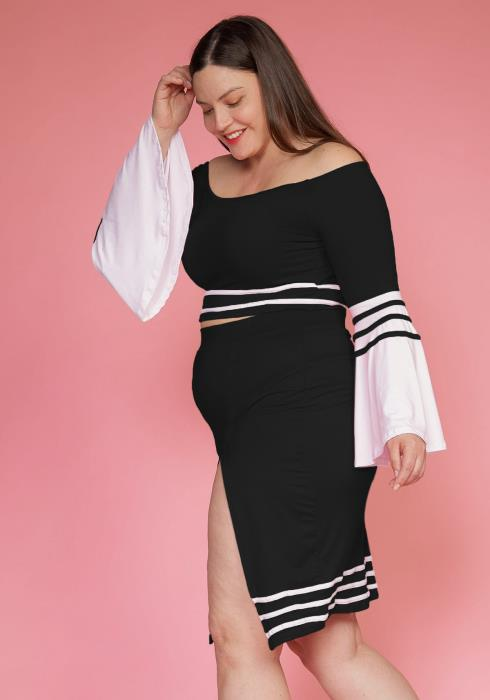 Asoph Plus Size Stripe Tape Off Shoulder Top & Skirt Set