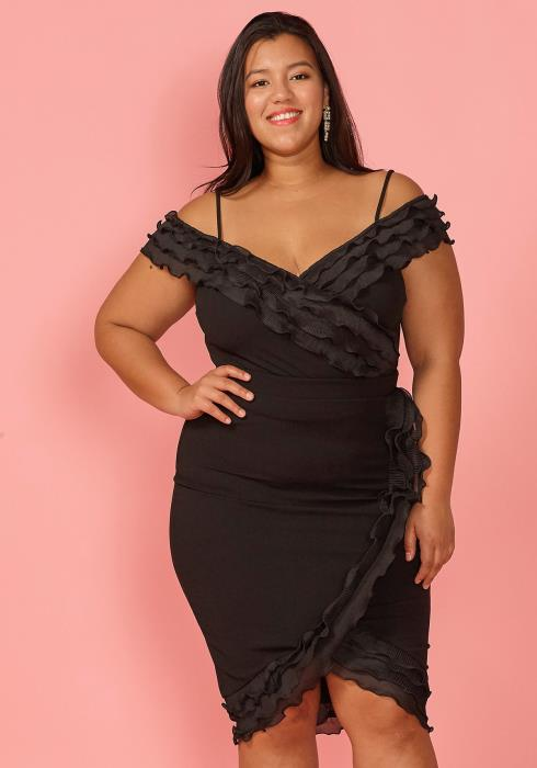 Asoph Plus Size Ruffle Trim Crop Top & Skirt Set