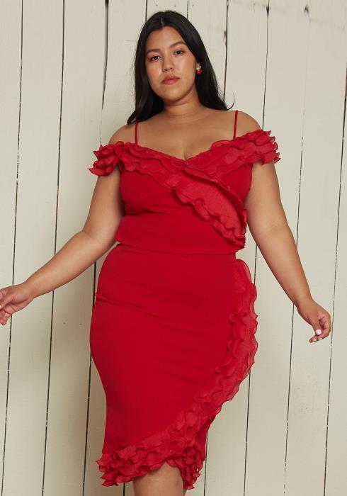Asoph Plus Size Ruffle Trim Crop Top & Skirt Set