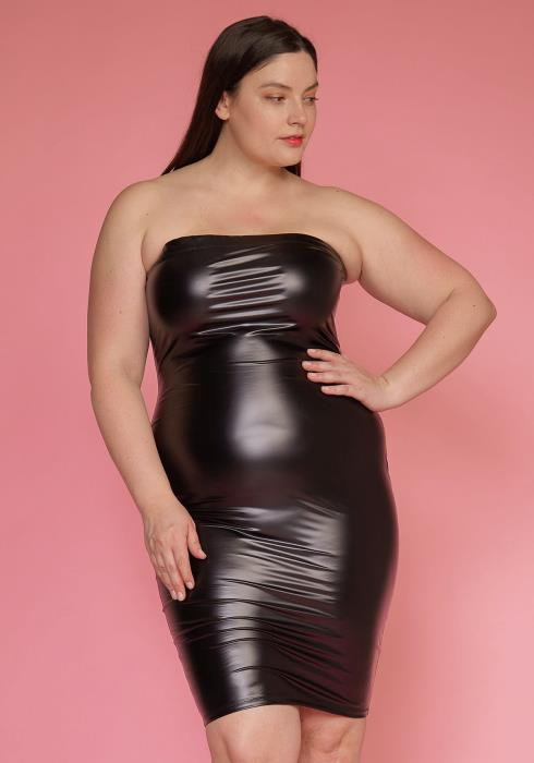 Asoph Plus Size Faux Leather Tube Top Sleeveless Dress