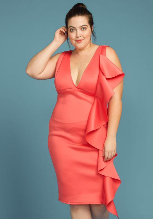Asoph Plus Size Side Ruffle V-Neck Sleeveless Dress