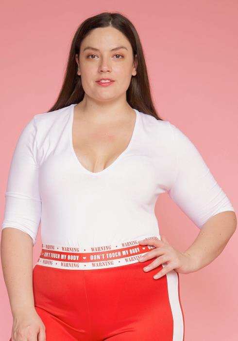 Asoph Plus Size V-Neck Half Sleeve Basic Bodysuit