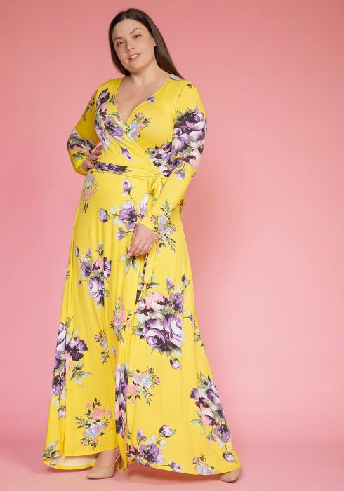 Asoph Plus Size Spring Floral Maxi Wrap Dress