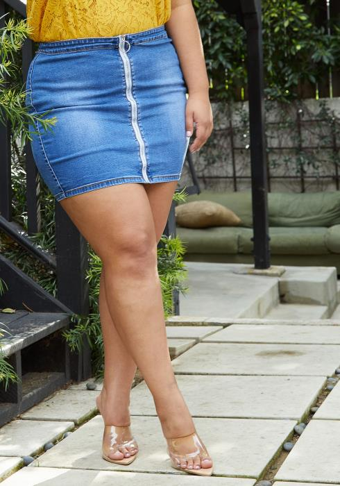 Asoph Plus Size Zip Up Denim Mini Skirt