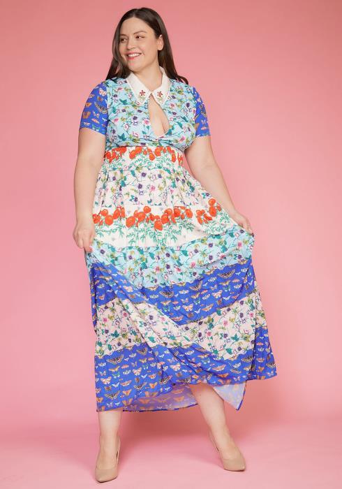 Asoph Plus Size Multi Print Keyhole Front Vintage Dress