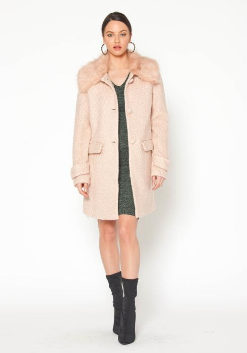 Pleione Womens Fur Collar Pink Tweed Longline Coat