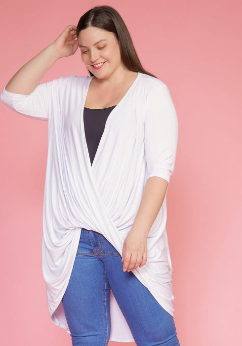 Asoph Plus Size Wrapped Loose Cover Up Blouse