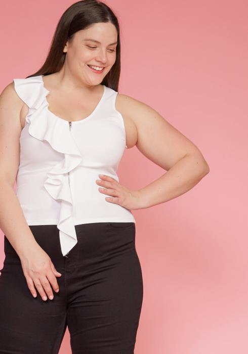 Asoph Plus Size Sleeveless Ruffle Zip Front Blouse