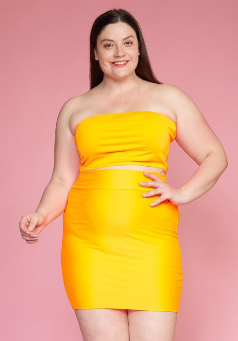Asoph Plus Size Nylon Bandeau & Pencil Mini Skirt Set