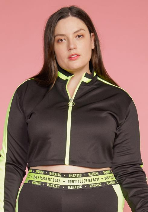 Asoph Plus Size Zip Up Stand Collar Cropped Jacket