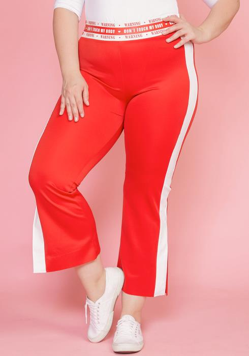 Asoph Plus Size Flared Stripe Sporty Pants