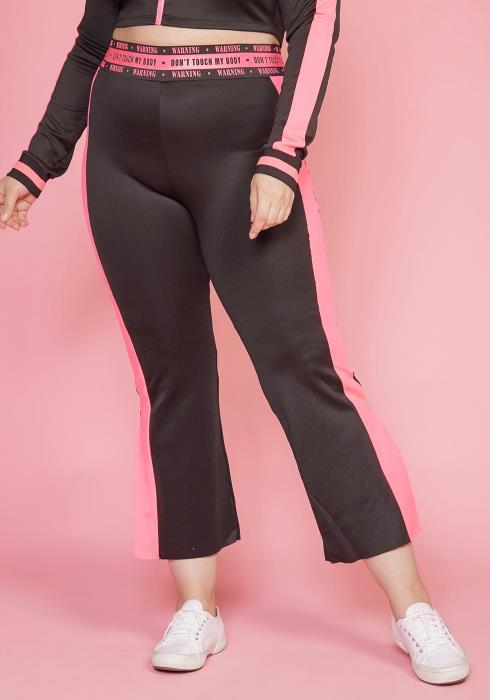 Asoph Plus Size Flared Stripe Sporty Pants