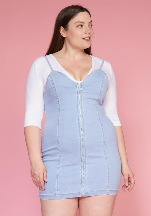 Asoph Plus Size Denim Zip Up Mini Dress