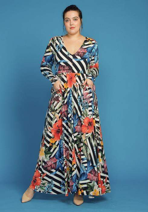Asoph Plus Size Floral Stripe Maxi Dress