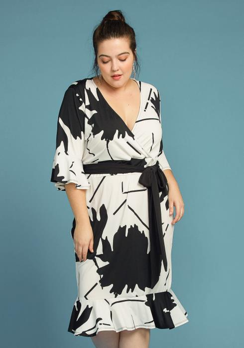 Asoph Plus Size Leaf Print Flared Hem Wrap Midi Dress
