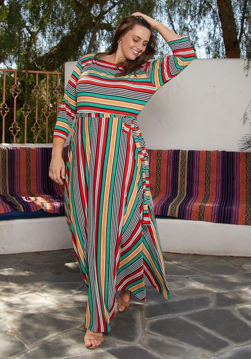 Asoph Plus Size 3/4 Length Sleeve Stripe Maxi Dress