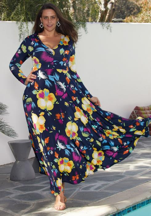 1e8c50eceee Asoph Plus Size Floral Maxi Empire Long Sleeve Dress