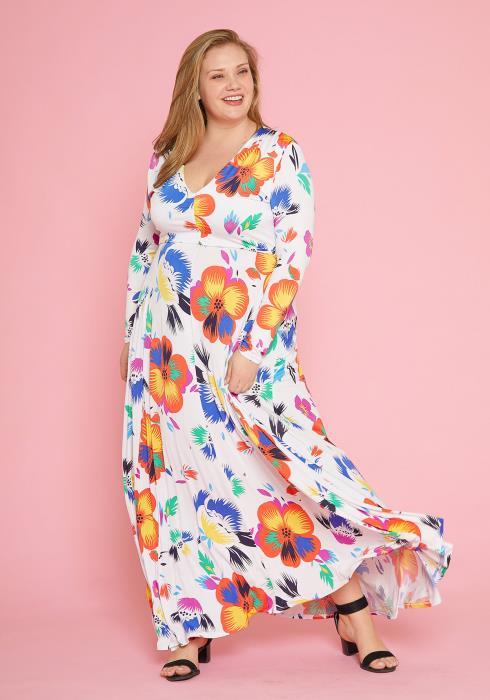 Asoph Plus Size Floral Maxi Empire Long Sleeve Dress