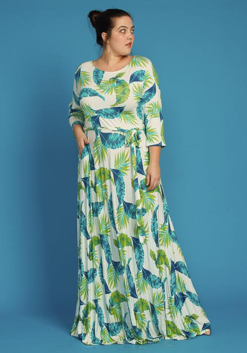 Asoph Plus Size Leaf Print Comfy Maxi Dress