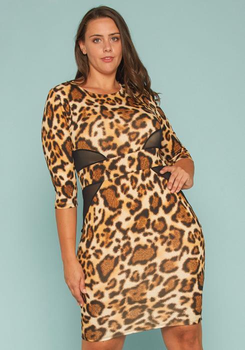 Asoph Plus Size Leopard Mesh Accent Bodycon Dress