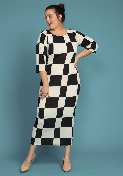 Asoph Plus Size Black White Checkered Bodycon Dress