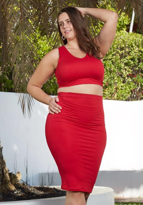 Asoph Plus Size Sleeveless Crop Top & Midi Skirt Two Piece Set