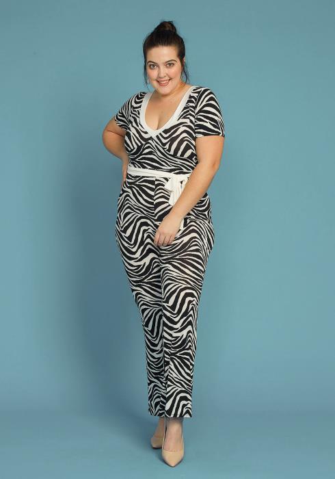 Asoph Plus Size Zebra Print Tie Waist Jumpsuit
