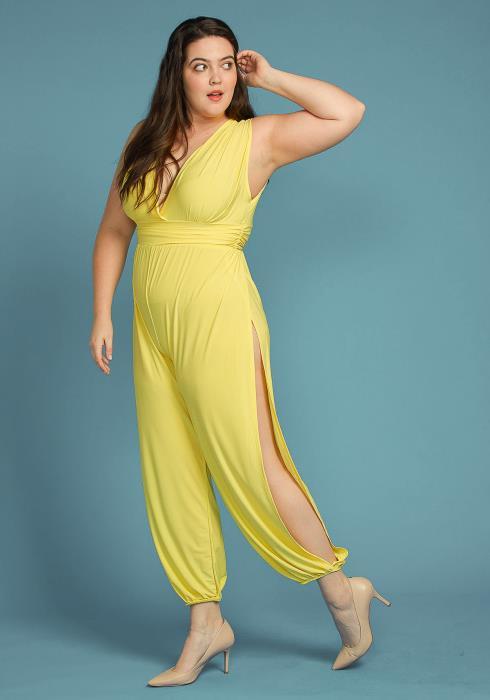 Asoph Plus Size Sleeveless Side Slit Jumpsuit