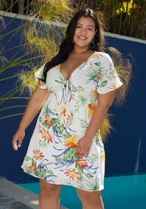 Asoph Plus Size Leaf Print Tie Front Flared Summer Dress