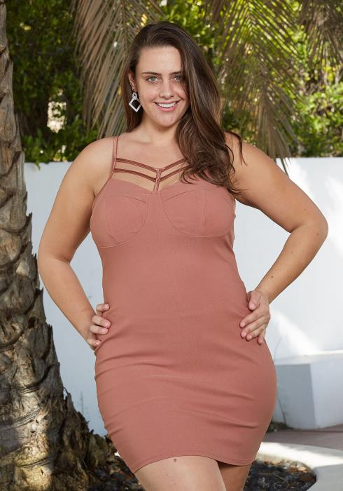 Asoph Plus Size Strappy Front Sexy Mini Party Dress