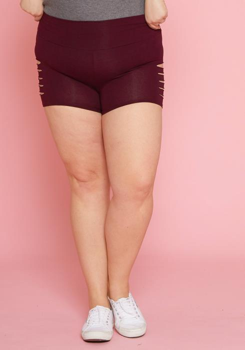 Asoph Plus Size Slit Tummy Hugging Legging Shorts