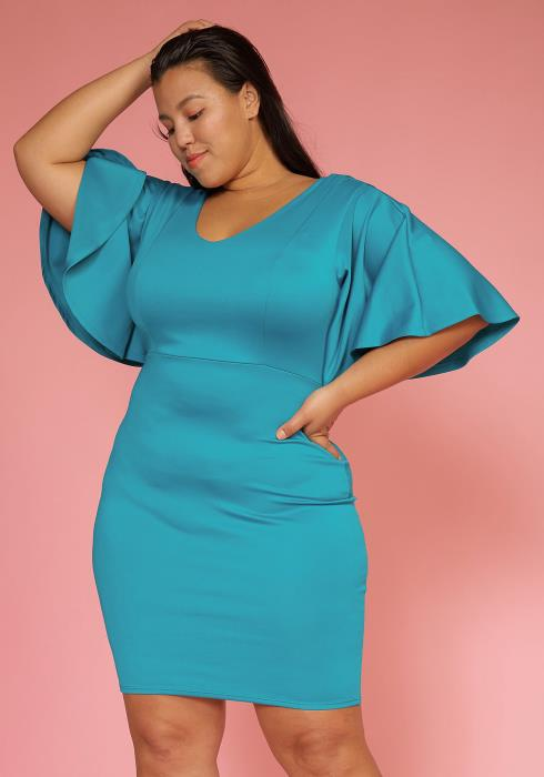 Asoph Plus Size V-Neck Bell Sleeve Dress