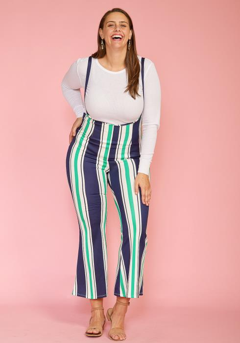 Asoph Plus Size Stripe Flared Overall Pants
