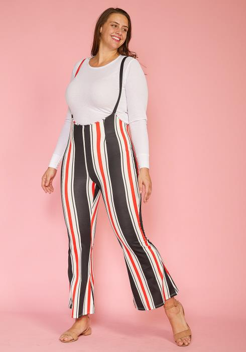 Plus Size Stripe Flared Overall Pants