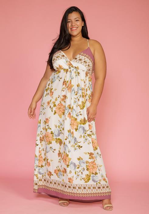 Asoph Plus Size Multi Print Empire Waist Maxi Floral Dress