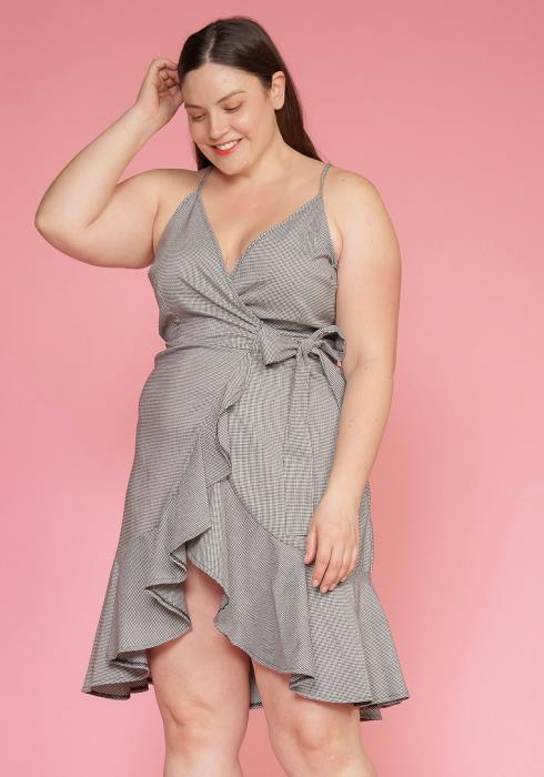 Asoph Plus Size Ruffle Hem Wrap Gingham Dress