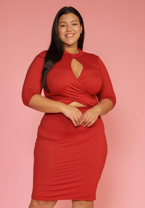 Asoph Plus Size Cropped Top & Skirt Two Piece Set