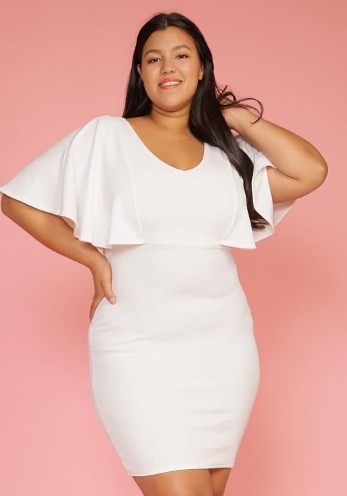 Asoph Plus Size Cape Sleeve V-Neck Party Dress