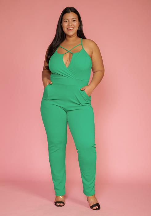 Asoph Plus Size Strappy Sexy Jumpsuit With Pockets