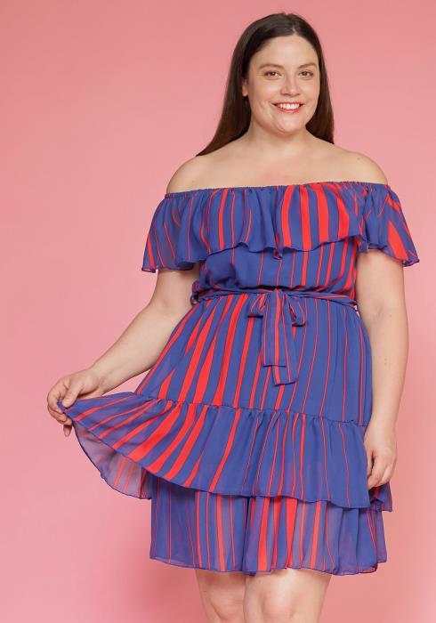 Asoph Plus Size Chiffon Layered Ruffle Dress