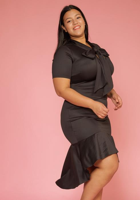 Asoph Plus Size Tie Neck Hi-Lo Ruffle Dress