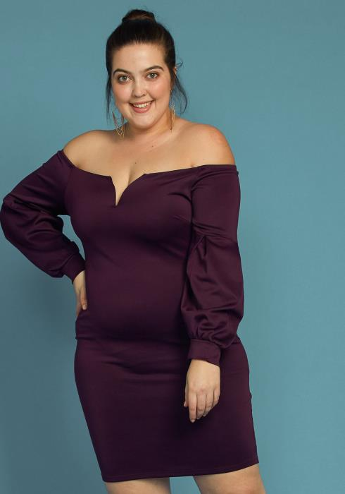 Plus Size Split Off Shoulder Party Dress