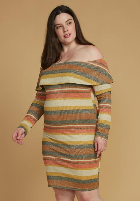 Asoph Plus Size Stripe Off Shoulder Midi Dress
