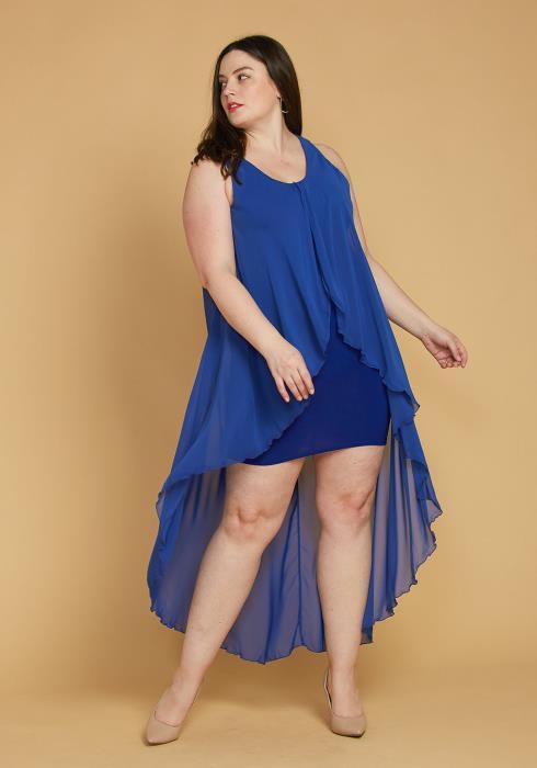 Plus Size Hi-Lo Chiffon Sleeveless Dress