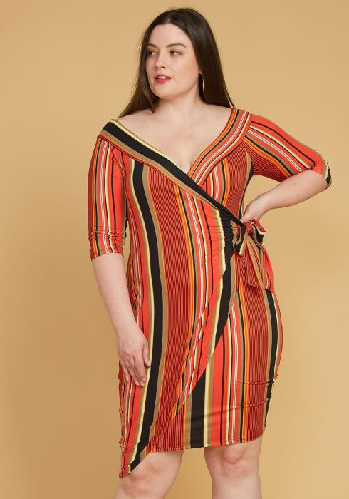 Asoph Plus Size Stripe Wrap Midi Dress