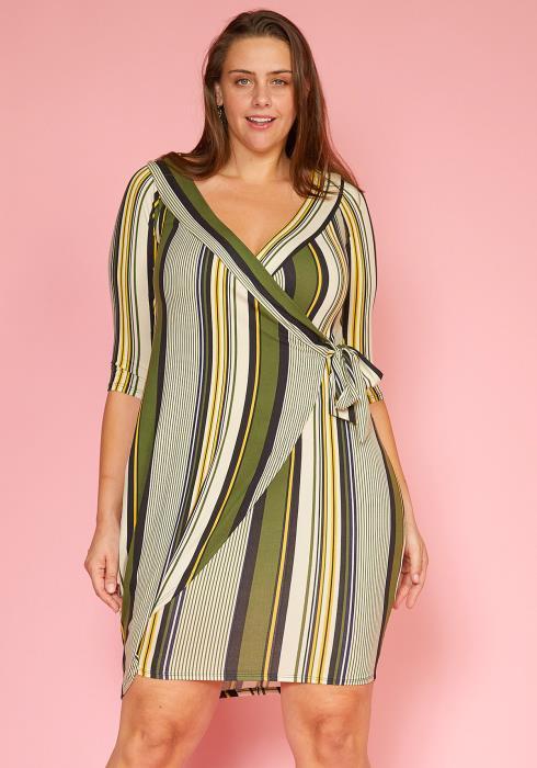 Plus Size Stripe Wrap Midi Dress